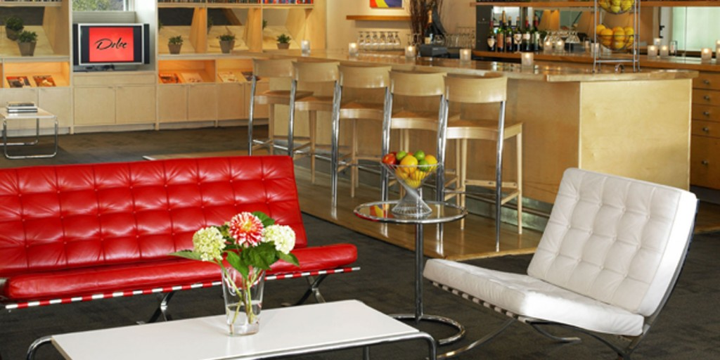 Relax with friends in the Hefner Lounge.
