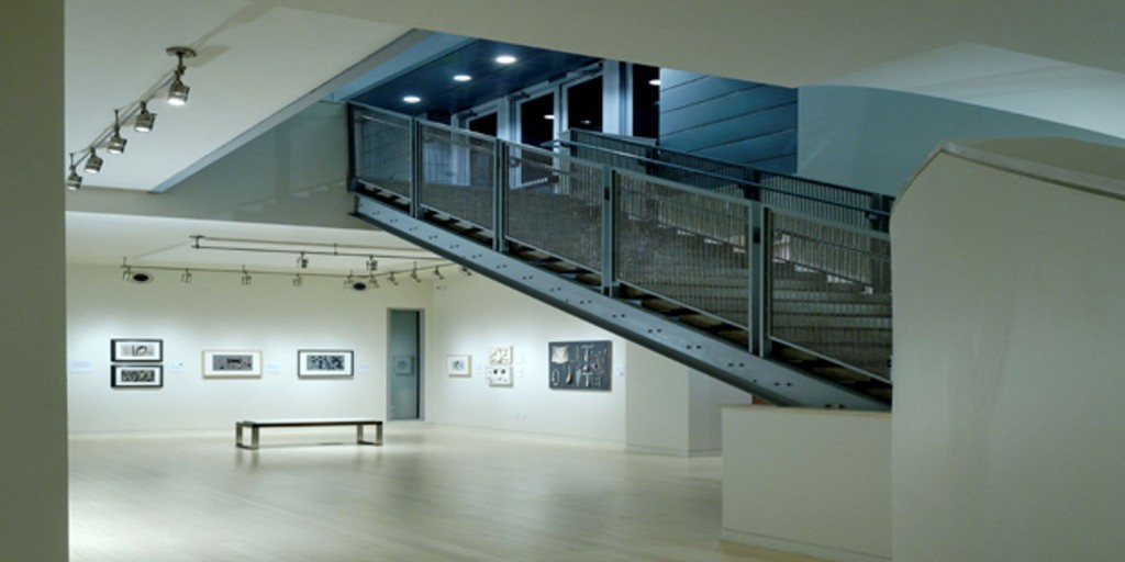 The spacious Resnick Art Gallery in the design of Bauhaus Architecture.