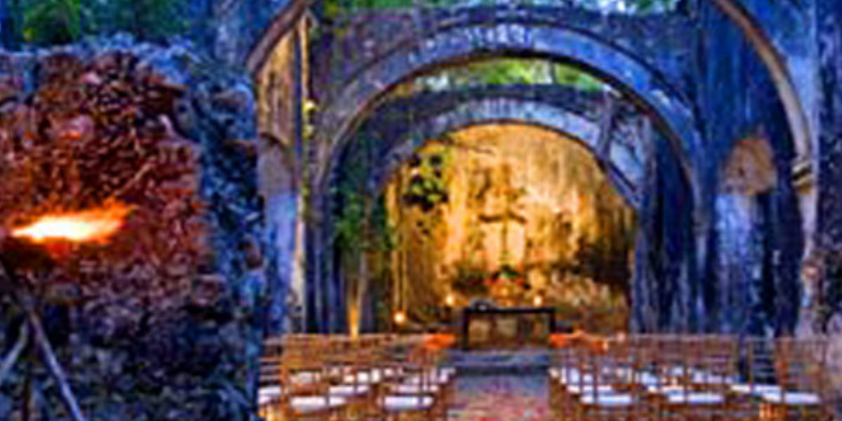 Experience the authentic grandeur of the rustic hacienda chapel.
