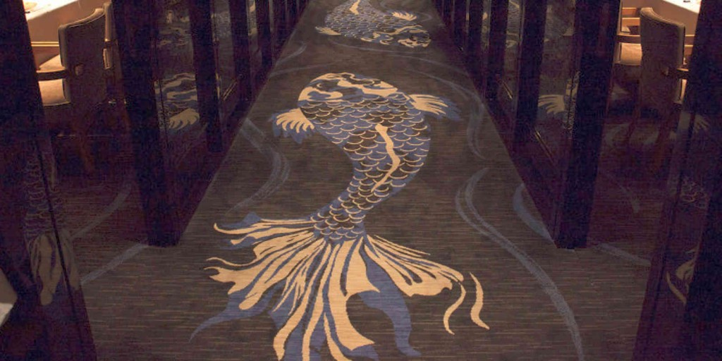 Fascinating Japanese carpet design at MEGU restaurant.