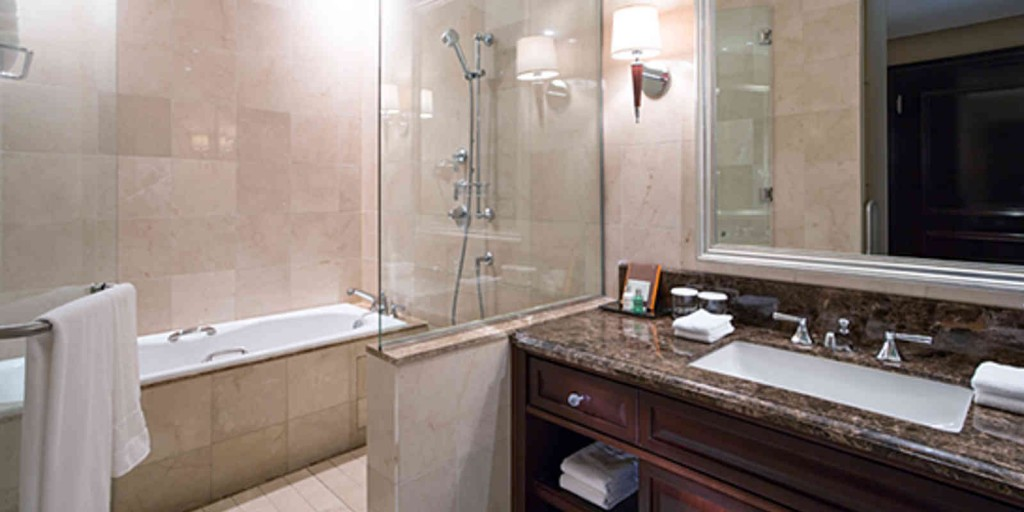 The Superior Room's bathroom surrounds you with fine marble.