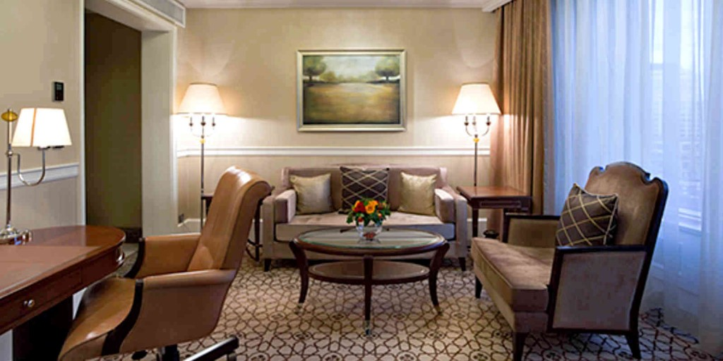 The Executive Suite's spacious separate living room area.