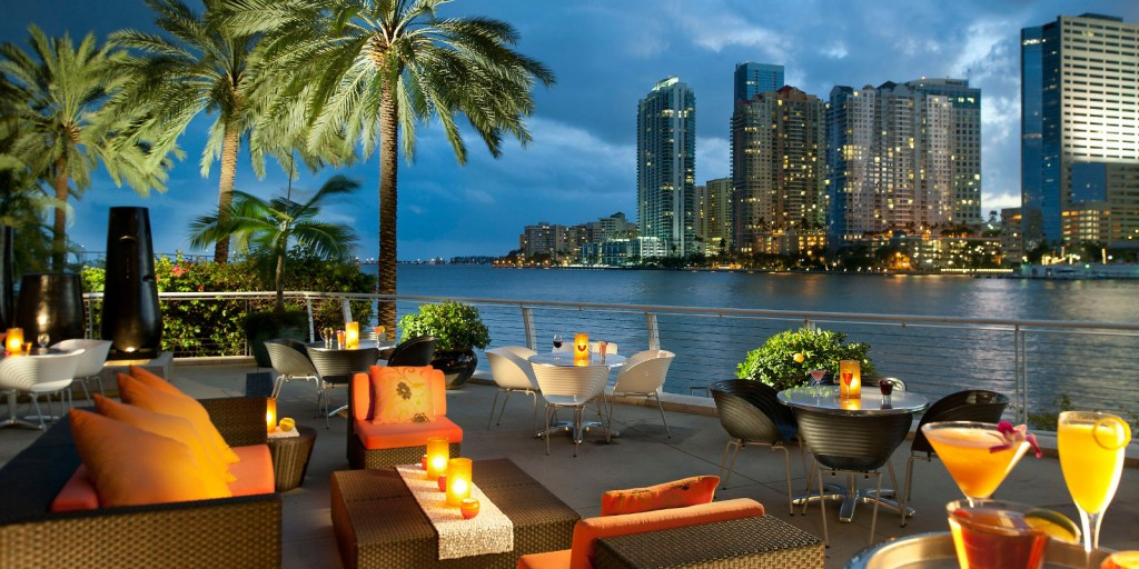 Enjoy Miami Bay views with optional waterfront dining at Cafe Sambal.