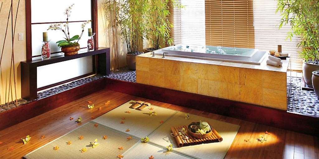 Rejuvenate in the Mandarin Suite bamboo-themed spa room.