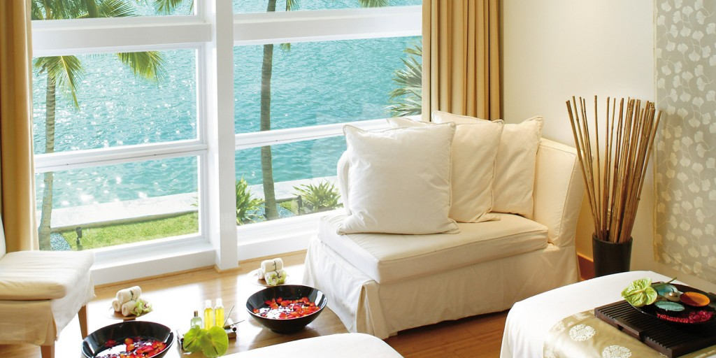 Spa at Mandarin Oriental Miami soothes with full height ocean views.