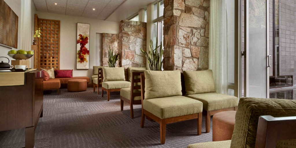 The spa lounge provides a place to refocus and re-calibrate your mind and body.