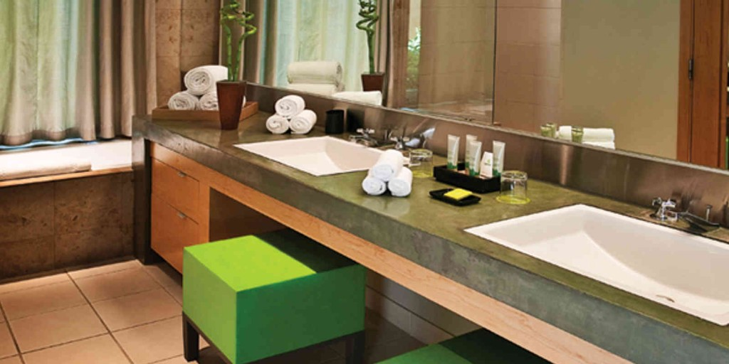 A soothing bathroom, with playful accents.